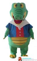 costume carnaval partido roupa venda por atacado-100% real fotos Gigante Crocodilo mascote outfit personalizado Animal Animal de estimação traje da mascote chique mascote crianças carnaval vestido de festa