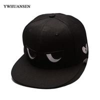 Wholesale cap network - YWHUANSEN 2018 Network explosions Summer Korean leisure Baseball Caps Men's black and white eyes Snapback hats Women Hip-hop Cap