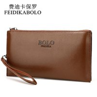 Wholesale Cheap Leather Wallets Men - FEIDIKABOLO Male Leather Purse With Coin Bag Men's Clutch Wallets Handy Bags Cheap Carteras Mujer Wallets Men Black Brown Khaki