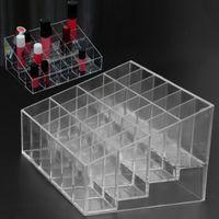 ingrosso scatole acriliche per la visualizzazione-24 Grid acrilico di trucco dell'organizzatore della scatola di immagazzinaggio del contenitore cosmetico di rossetto Contenitore di monili della cassa del supporto di esposizione del supporto compone l'organizzatore