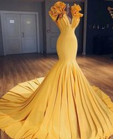 Wholesale special occasion dresses for women - 2018 Stunning Yellow Evening Dresses For Women Pageant Special Occasions Cap Sleeves Mermaid V Neck Pleats Long Prom Celebrity Gowns BA9299