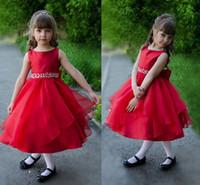 ingrosso vestito rosso dalla principessa dell'arco-Principessa rossa breve fiore ragazze abiti in rilievo di cristallo Sash Bow Organza di raso di lunghezza del tè Bambini Festa di compleanno Abiti ragazze spettacolo Dress