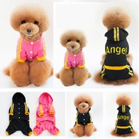Wholesale hats winter years resale online - Autumn Winter Dog Angel Letters Hoodie Clothes Puppy Apparel Cotton Warm Coats Jackets With Hat Lovely Sweater Black Pink Pet AAA920