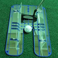 golf training hilfe schaukel großhandel-Neue Golf Spiegelausrichtungsausbildungshilfe-Putting-Schwingen-Trainer Augen-Linie Golf Practice Putting Große 45.6x23.6cm Spiegel