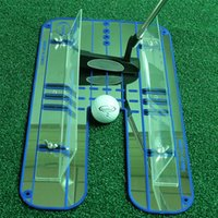 ayudas para la alineación del golf al por mayor-Nuevo Golf Putting Mirror Alignment Training Aid Swing Trainer Eye Line Práctica de golf Putting Mirror Large 45.6x23.6cm