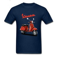 Wholesale Brown Scooters - 2018 Vintage Vespa t shirts men Vespa motorcycle scooter t-shirts homme Piaggio logo print tee shirt hombre camiseta Teeshirts
