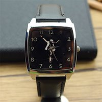 Wholesale Michael Watch Men - promotion Michael Jackson Black Leather Band Fashion Wrist Watch MJ for women and men wristwatch unisex square quartz watch