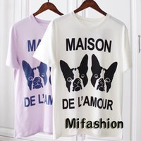 Wholesale house animals - Luxury Europe Italy House of Love Sequins Dual Dog High Quality Summer Tshirt Fashion Men Women T Shirt Casual Mecerized Cotton Tee Top