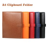 Wholesale A4 Paper Folder - A4 Clipboard Folder Portfolio Multi-function Leather Organizer Sturdy Office Manager Clip Writing Pads Legal Paper Contract