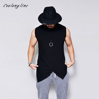 Wholesale Mens Tails - Coolongline Mens Cotton Tank Top Cross Layered Long Tail Sleeveless Tee Shirt Solid Blank Free Shipping
