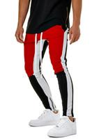 los hombres calzan pantalones deportivos al por mayor-Moda para hombre pantalones deportivos envío gratis Slim Fit Patchwork Jogger pantalones con cordón pantalones casuales hombres Sportwear