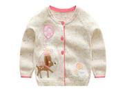 cardigan color diseño chicas al por mayor-Estilos INS nueva venta caliente Chica niños primavera otoño manga larga Algodón puro Cardigan Deer Design suéter hecho punto para Chica