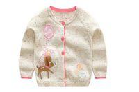 cervos de malha cardigans venda por atacado-INS estilos nova venda quente Menina crianças primavera outono manga longa Cardigan de Algodão Puro cervo Design camisola de malha para a Menina