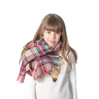 neck mufflers UK - Children Kid Grid Scarf Boy And Girl Neck Muffler Plaid Scarfs Cashmere Acrylic Wrap Shawl pashmina 16 Colors