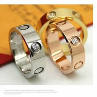Wholesale Love Screw Ring - Wholesale brand logo love rings titanium steel silver rose gold 4mm Fashion Wedding rings for women men couple carter love screw Jewelry