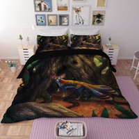 Wholesale lion print comforter sets - 3D Bedding Sets Animal Pattern Duvet Covers Home Textiles Polyester Printing Wolf Lion Dragon Ball Deer Twin Queen King Size 3pcs Wholesale