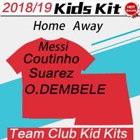 Wholesale fluorescent jerseys - 2019 #10 MESSI #3 PIQUE #9 SUAREZ Home Child Jersey 18 19 #14 COUTINHO #11 O.DEMBELE Away Fluorescent Green Futbol Shirts Kids Boy Kits