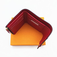 Wholesale orange leather coat - Paris style womens wallet famous women luxury Designer brand wallets coated canvas and real leather small wallets with zipper coin pocket