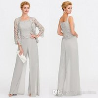 6ef3d54dd7 2018 Newest Gray Mother of The Bride Dresses Two Pieces Lace Jackets Mothers  Dresses For Wedding Events Pants Suit Evening Gown BC005