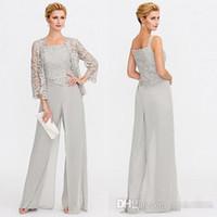 düğün organizasyonları toptan satış-Yeni Gri anne Gelin Elbiseler İki Adet Dantel Ceketler Anneler Düğün Olaylar Pantolon Elbise Akşam elbise BC005 Için Elbiseler