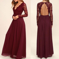 burgundkleid juniors großhandel-2019 Spitze Burgund Brautjungfer Kleider Chiffon Rock Illusion Mieder Lange Ärmel A-Linie Junior Counrtry Brautjungfern Kleider Günstige BA6895