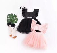 ingrosso vestito increspato di tulle nero-Cute Backless Baby girl dress Abiti tutu Vestiti per bambini Increspature Sleeve Bow Cross Soft Tulle Boutique girl abbigliamento Summer Pink Black B11