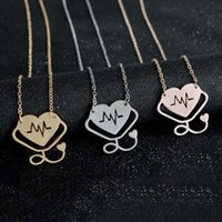Wholesale Wholesale Nurse Gifts - Doctor Nurse Gift Heart ECG Stethoscope Necklace & Pendant For men women Rose Gold Silver Necklace Alloy Chain Choker 162354