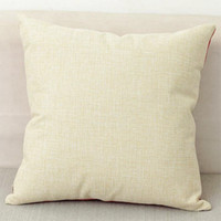 Wholesale Embroidery Linen Cushion Cover - 40x40cm natural poly linen pillow case blanks for DIY sublimation plain burlap cushion cover embroidery blanks