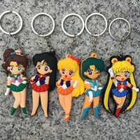 Wholesale zinc toy figures online - Anime Pretty Soldier Sailor Moon Key Chain double face Comic silicone keychain action figure pendant PVC keyring Collection toys AAA1129