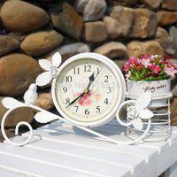 Wholesale Garden Clocks - Rural Style Metal Bird Clock Home Decoration Handwork Garden Table Clock With Pen Pot Black White Colour