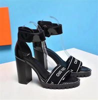 Wholesale Toe Europe Sandals - Europe and the United States fashion summer new buckle scuffs open-toed high-heeled patent leather chunky heelsLV sandals fashion shoes