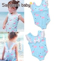 Wholesale Wholesale Baby Puffs - 2018 New Blue Printed Flamingo Puff Sleeve One-piece Swimsuit Baby Girls Clothes Cute Romper Summer Beach Kids Clothing M107