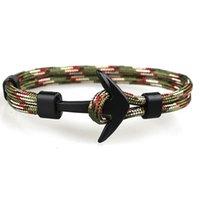 ingrosso braccialetto di ancoraggio di alta qualità-Il braccialetto di Paracord variopinto di alta qualità del braccialetto nero di ancoraggio fatto a mano degli uomini di alta qualità 10PCS / Set all'ingrosso