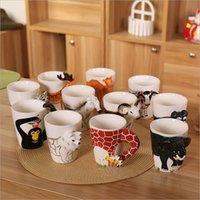 ingrosso figurine del fumetto-Tazza di vetro di ceramica creativa 3D Cute Cartoon miniatura Figurina animale maniglia Tazza di acqua Natale caffè latte Tazza di tè Ufficio regalo di compleanno