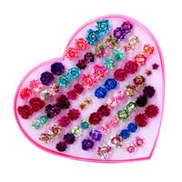 winzige blumen großhandel-ISINYEE Mode niedlich kleine kleine Rose Ohrstecker Set für Kinder kleine Mädchen Frauen 36 Paar handgemachte Blume Trendy Schmuck