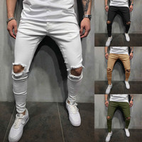 pantalón de adolescente al por mayor-Hombres Color sólido Agujeros Pantalones Flaco Slim Fit Diseñador Lápiz pantalones Hombre adolescente pantalones de calle