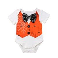 roupa de colete de bebê venda por atacado-Dia das Bruxas Recém-nascidos Baby Boy Menina Bow Tie Romper Outfit Roupas Colete