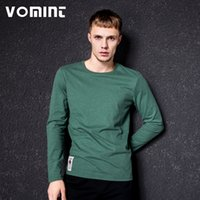Wholesale Men Fancy Shirts - Vomint New Solid T -Shirt Mens Long Sleeve T -Shirt Cotton Multi Pure Color Fancy Yarns Washing Tee Shirt For Male 2700