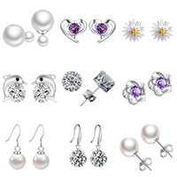 ingrosso borchie in diamanti svizzeri-Orecchini a lobo per le donne Cut Swiss Diamond Crystal Style Orecchini in argento Gioielli di alta qualità Regalo di San Valentino
