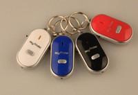 schlüssel anti verloren pfeife großhandel-Anti verloren LED Schlüsselsucher Locator 4 Farben Stimme Sound Whistle Control Locator Keychain Control Torch