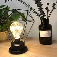 luces de escritorio minimalistas al por mayor-Minimalista Retro LED Lámpara de Mesa Escritorio de Luz Nocturna Diamond Tall Lamp Candle Holder Home Bedroom Decor Adornos