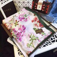 Wholesale flower pashmina - high quality Luxury Brand Women Silk Scarf 2018 Summer Designer Flower Long Scarf Label 180x90Cm Shawl Silk Letter Scarves