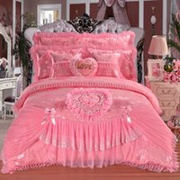Wholesale king size bedding wedding resale online - Hot Pink Red Jacquard Silk Princess bedding sets silk Lace Ruffles duvet cover bedspread bed skirt bedclothes king queen size