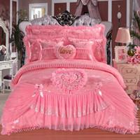 Wholesale queen bedding set princess resale online - Hot Pink Red Jacquard Silk Princess bedding sets silk Lace Ruffles duvet cover bedspread bed skirt bedclothes king queen size