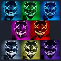 v için korkunç vendetta toptan satış-Yeni tel EL MASKE Light Up Neon ışık Vendetta Parti Moda V Cosplay Kostüm Guy Fawkes Anonim maske parti maskesi Cadılar Bayramı korkutucu Karnaval