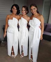 strapless vestido de coral de longitud del piso al por mayor-2018 elegante blanco piso longitud vestidos de dama de honor sin tirantes sin mangas mucama de vestidos de honor frente Split boda invitados vestidos BA9125