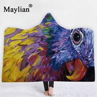 Wholesale india blanket resale online - eagle animal India mat head Hooded Blanket Sherpa Fleece Ocean Blue Wearable plush Throw Blanket on Bed Sofa Thick warm B55