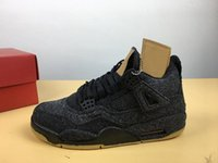 Wholesale best art canvas - Hot Sale Authentic Top Best Quality 4s Black Denim Men Basketball Shoes Brand Outdoor Sneaker Sports Shoes AQ9103-100 With Original Box