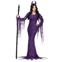 seksi şeytan cosplay toptan satış-Cadılar bayramı Seksi Mor Evil Cadı Kostüm Cosplay Deluxe Fairytale Demon Uzun Kollu Elbise Şeytan Fantezi Elbise Sahne ...