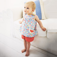Wholesale tracksuits for baby girls - Baby Girls Sets Summer Children Clothing Woven Kids Tracksuit for Girls Clothes Animal Applique Tops Toddler Girls Short Sets
